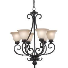 Add a touch of elegance to your home with this glass-shaded chandelier. The oil-rubbed bronze brings a timeless appeal to any room's decor, and the scrollwork on the arms of the chandelier gives it old-world charm.