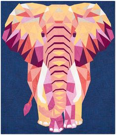 ELEPHANT Abstractions Violet Craft Quilt Quilting Pattern Modern Paper-Piecing Paper-Pieced Applique Sewing Instructions 010 by KinshipQuilters on Etsy Paper Piecing Patterns, Quilt Patterns, Paper Pieced Quilts, Quilting Fabric, Quilting Projects, Quilting Designs, Elephant Quilts Pattern, Elephant Paper Piecing, African Quilts