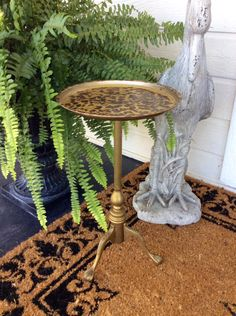 Vintage Ornate Solid Brass, Ball & Claw,  Footed, Side Table, Tortoise /Leopard Top Design, Plant Stand, Hollywood Regency, Mid Century by YellowHouseDecor on Etsy https://www.etsy.com/listing/466348186/vintage-ornate-solid-brass-ball-claw