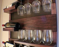 ON SALE Stunning Dark Cherry Stained Wall Mounted Wine Rack with Shelves and Decorative Mesh, Wine and Liquor Shelf and Cabinet
