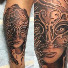 Black and gray tattoo, Venetian mask, girl tattoo