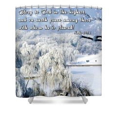 #Shower #curtain with lovely winter scene and #Bible verse.