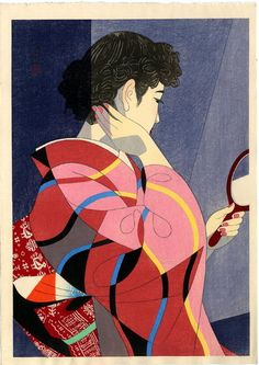 A Hand Mirror, 1954 Ito Shinsui. Woodblock print.