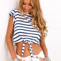 Ladies T shirt Sexy Crop Tops Fashion Striped Short Sleeved T-shirt Slim Short Female Clothes Slim Tees Tops