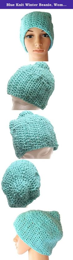 """Blue Knit Winter Beanie, Womens Crochet Dread Cap, Mens Autumn Slouch Hat, Snow Toque, Tam. This womens or mens slouch hat is made from a light blue aqua yarn. The crochet womens slouchy cap is 13"""" long and 22"""" around. The back of this knit winter hat has enough room to """"play with"""". This crochet sock cap will keep you warm on a cold winter day. Great as a teen winter hat. Machine washable. dry flat. Please convo me if you would like this hat in a different color. Fits men, women and…"""
