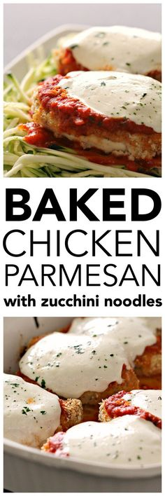 Baked Chicken Parmesan with Zucchini Noodles - Six Sisters' Stuff | This quick and easy comfort dish got a healthy makeover – and I promise that your family will still love it! #dinner #sixsistersrecipes #familydinner