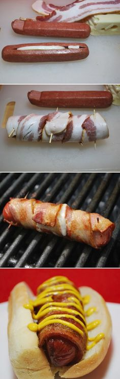 Bacon Wrapped Cheese Hot Dogs. will be trying this at the lake!
