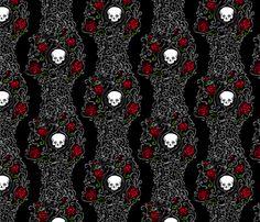 Where the Wild Roses Grow (Black) fabric by leighr on Spoonflower - custom fabric
