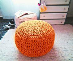 Orange Pouf Ottoman Nursery Footstool Pouf Nursery by LoopingHome