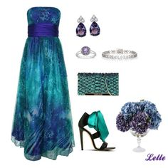 """""""Betsy Adam Strapless Gown with Cumberbun"""" by lellelelle on Polyvore"""