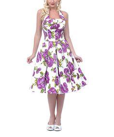 Vintage Purple & White Floral Swing Halter Dress