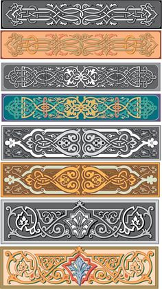 Old Russian ornamental patterns. # I couldn't help thinking these would make great leather bracelets with sewn on snaps. Or painted on a hinged wooden bracelet with a tiny latch; or just as cloth embroidered bracelets with sewn on snaps. Leather Carving, Wood Carving, Pattern Art, Pattern Design, Stencils, Islamic Patterns, Decorative Borders, Celtic Art, Leather Pattern