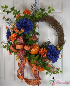 Auburn Fall Grapevine Wreath by Gaslight Floral Design.