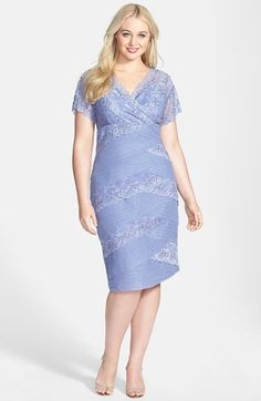 Marina Mixed Lace Sheath Dress (Plus Size) available at #Nordstrom what about pastel?