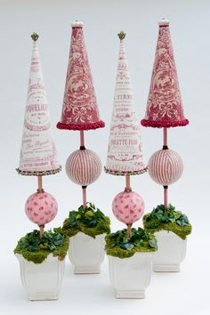 Cranberry Toile Trees