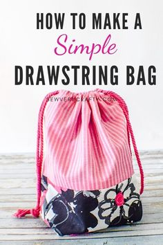 Learn to make this simple drawstring pouch in no time at all using basic sewing skills. This is a fun and functional sewing project that anyone can make. This is truly a beginner sewing project with lots of wow so give this one a try. Sewing Basics, Sewing Hacks, Sewing Tutorials, Basic Sewing, Sewing Tips, Sewing Ideas, Sewing Crafts, Free Sewing, Sewing Patterns Free