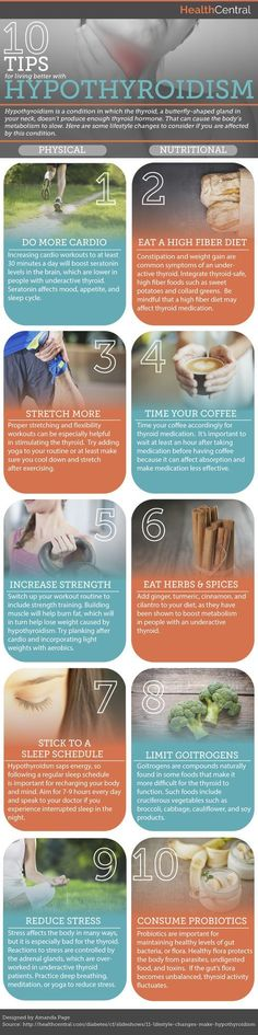 Leading an overall healthy lifestyle, that includes eating well and exercising, can help you manage hypothyroidism. But what else can you do to live well with hypothyroidism? This Inforgraphic will take you through 10 tips for living better with hypothyroidism! Source: https://s-media-cache-ak0.pinimg.com