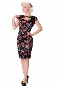 The 50s Rosalie Sweetheart pencil dress in Black Satin Roseis such an eyecatching pinup style wiggle dress with cut out neckline and backside.Made from a satin black fabric with a classy roes print. The pencil style gives you a beautiful and sexy silhouette. Cap sleeves and stitched waistband to accentuate your waistline. The top is lined and has a button closure. The back is open and has a double button closure too and covers your bra. Invisible zip back and a small slit for ease o...