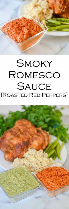Easy Romesco Sauce Recipe #sauce #saucerecipe #sidedish #potluckdishes #potluck #bbq #LMrecipes #bellpeppers #roastedbellpeppers #romesco