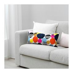 IKEA - NEDJA, Cushion, multicolor, Soft, resilient polyester filling holds its shape and gives your body soft support. Can be used as a comfortable neckroll to support your neck or a lumbar cushion for your lower back. Design Your Life, Can Design, Cushions Ikea, Ikea Portugal, Recycling, Ikea Us, Affordable Furniture, Bunt, Living Room Furniture
