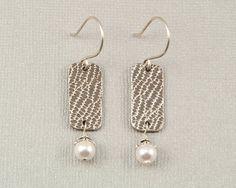 PMC fine silver pearl earrings, Precious Metal Clay jewelry by BellesBijouxDesigns