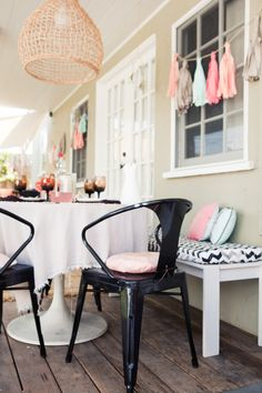 Jaime Morrison Curtis at Babble created a sweet outdoor dining area with our black Tabouret chairs. http://www.overstock.com/Home-Garden/Black-Tabouret-Stacking-Chairs-Set-of-4/5095639/product.html