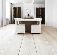 Stunning Dinesen wooden flooring from Denmark - interiors by Anouska Hempel.  Love the elegant simplicity of this space