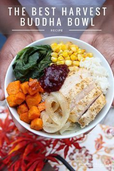 It's Thanksgiving in a bowl! Create a harvest buddha bowl with fresh produce, Jasmine rice, and deliciously seasoned chicken breasts. Get the recipe for our savory, with a sweet hint of Cranberry Sauce +Mint harvest on the blog. This is also a great way to use up Thanksgiving leftovers. #thanksgiving #thankgivingleftovers