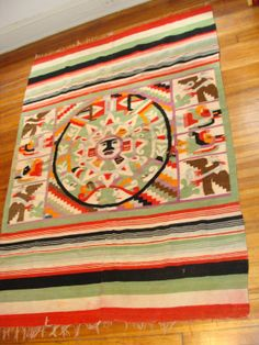 Vintage Flat Weave Mexican Rug ~~Old California And Spanish Revival Style~~