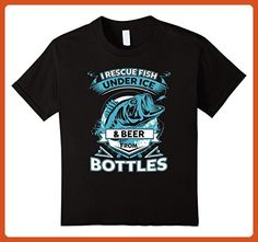 Kids I RESCUE FISH UNDER ICE & BEER FROM BOTTLE T Shirt 6 Black - Food and drink shirts (*Partner-Link)