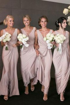 Pink Satin Deep V-Neck Sheath Floor-Length Cheap Bridesmaid Dresses,Wedding Party Dresses,Cheap Wedding Gowns,Bridesmaid Gowns,Cheap Bridesmaid Dress on Line