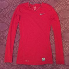 Nike Pro red fit dry workout top Red Nike Pro dry fit top, perfect for workouts during the cold winter months! Nike Tops