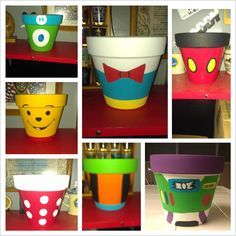 My daughter and I made these Disney Themed Flower Pots.