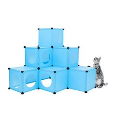 Cat Condo / Blue XL Modular 109 Piece Cat Condo / Cat House / DIY Cat Tower / Cat Tree Kit / Build Your Own Fully Customizable Cat House By Frontpet