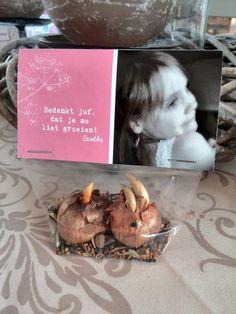 """Afscheid kleuterschool. Elke kleuterjuf krijgt een zakje met volgende boodschap """"Bedankt juf, dat je me liet groeien"""" (met bloembollen en -zaadjes) via www.smartphoto.be"""