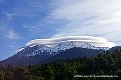 Mt. Shasta with it's famous lenticular cloud.  Photo by Robin Kohn 2012, mountshastaguide.com