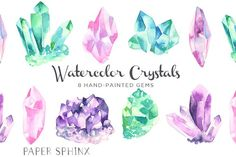Watercolor Gems & Minerals Set by PaperSphinx on @creativemarket