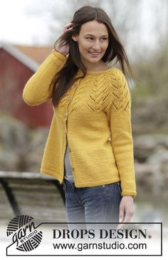 """Knitted DROPS jacket with A-shape, round yoke, cables and lace pattern in """"Nepal"""". Size: S - XXXL. ~ DROPS Design"""