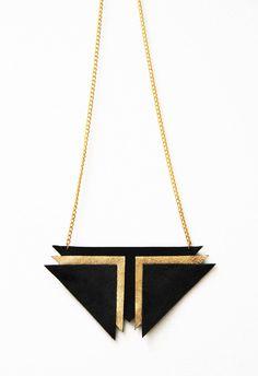 Zhora: Black Gold Leather & Suede Chevron Statement Necklace// Geometric// Retro Futurism on Etsy, $27.44