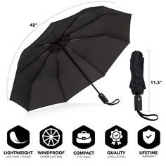 Automatic Compact Windproof Snow Defying Travel Umbrella with Teflon Coating New