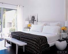 Simple modern bedroom in black and white. Like the black throw against the white bedding and bedside table arrangement.