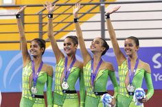 Egyptian Rhythmic Gymnastics team at the first Youth Olympics Games, Singapore 2010.   1st Olympic medal won by females in Egypt, Africa and The Arab World.