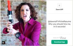 Dawn Siff's 6 second Vine CV video pitch... Looking for social media recruitment / job hunting, personal / employer branding advice or LinkedIn support? Contact me at tom.laine@innopinion.com. Read more about me at https://www.linkedin.com/in/tomlaine