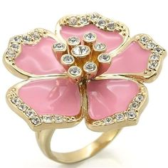 Gold-Tone Pink Enamel Crystal Flower Cocktail Fashion Ring