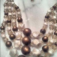 SellSimple - Vintage FINE 4 stranded beaded adjustable choker/Necklace