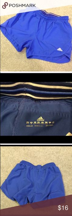"""adidas blue athletic shorts NWOT- flawless! 100% lightweight poly. XS. Approx 3.5"""" inseam, 9.5"""" rise, & 26"""" stretch elastic drawstring waist. Beautiful true blue color. Check out my other adidas listings! Bundle to save! NO TRADES, no modeling. REASONABLE offers welcome via offer button. Adidas Shorts"""