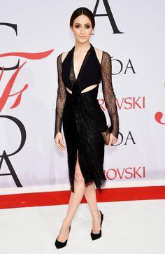 Emmy Rossum in a black lace Dion Lee dress