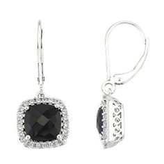 8mm Cushion Black Onyx Drop Earrings Sterling Silver Created White Sapphire Halo available at joyfulcrown.com