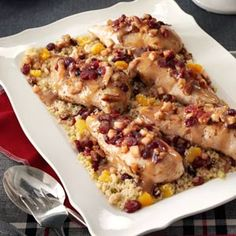 Stuffed Chicken Breasts with Cranberry Quinoa - not so intersted in the chicken part but I am looking forward to trying the Quinoa :)