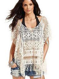 Casual Style Halt Sleeve Tassel Knit Woman Medium Bikini Covers Up